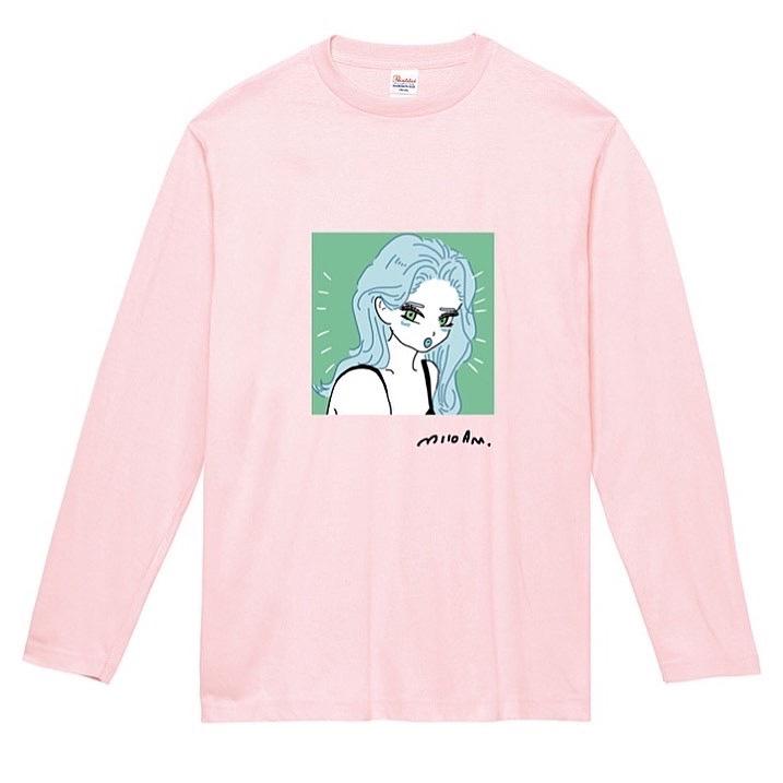 Animation Girl long T-shirt Pink